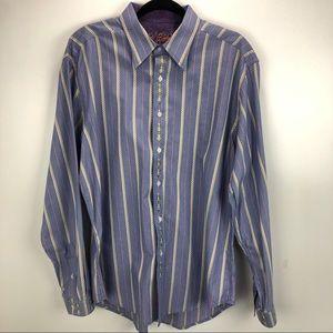 Robert Graham Striped Flip Cuff Dress Shirt XL